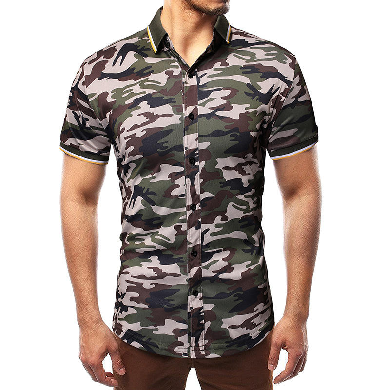 Summer new men's Luokou collar casual large size camouflage short sleeve shirt
