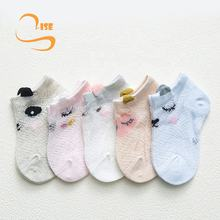 Breathable toddler kids cute animal panda sheep thin mesh cotton baby crew socks