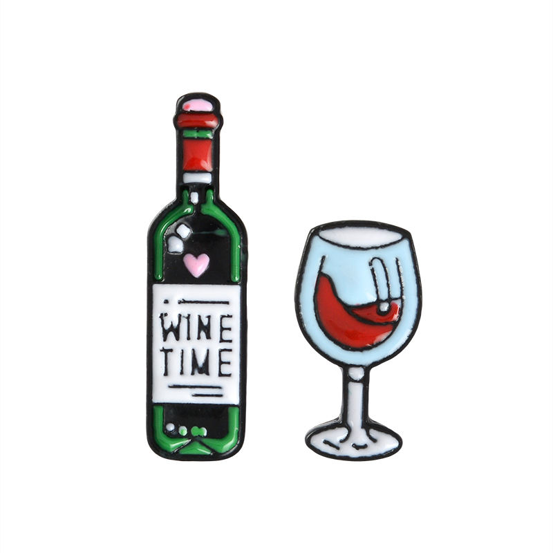 Wine Time Mini Cute Wine And Glasses Couple Pins Red Wine Bottle cup Brooches Enamel Pin Badge For Lovers Best Friend