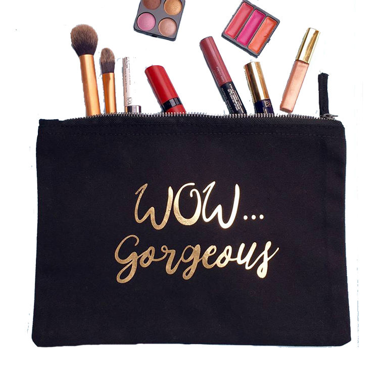 Gold Printed Cosmetic Bag Organic Cotton Canvas Plain Makeup Bag with Zipper