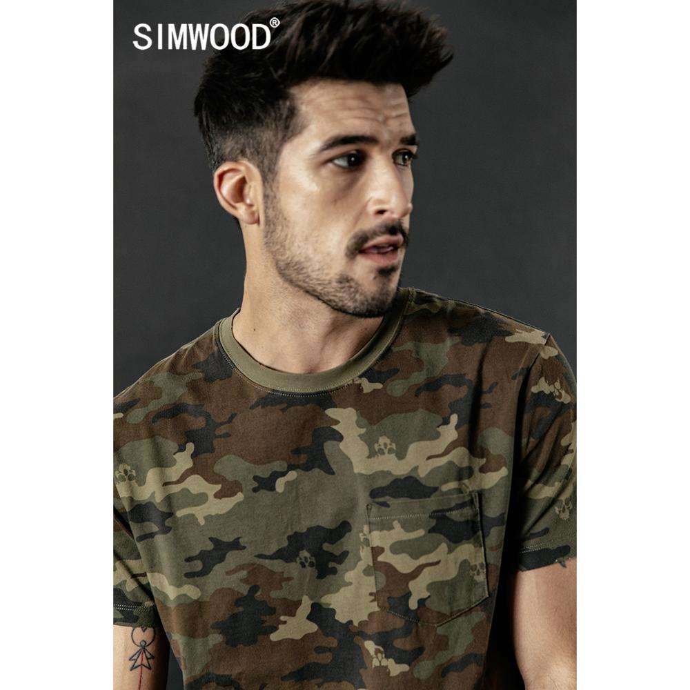 SIMWOOD 2020 summer new camouflage t shirt men ripped detail Skulls pattern t-shirt fashion Military style hip hop tshirt 190306