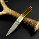 5.6 inch best copper bone handle outdoor small damascus hunting knife