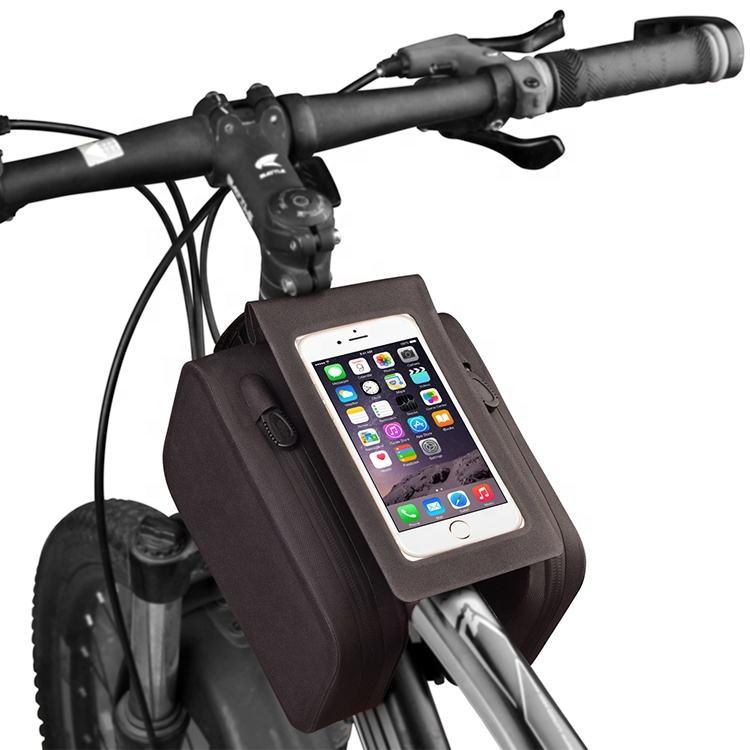 Çin üretici su geçirmez gidon bisiklet ön tüp şasi çantası bisiklet bisiklet telefonu çanta bisiklet çanta kutuları