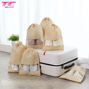 Morecredit Hot Selling Portable Travel Shoe Bags Stock Jute Drawstring Dust Shoe Bag With Clear Plastic Window