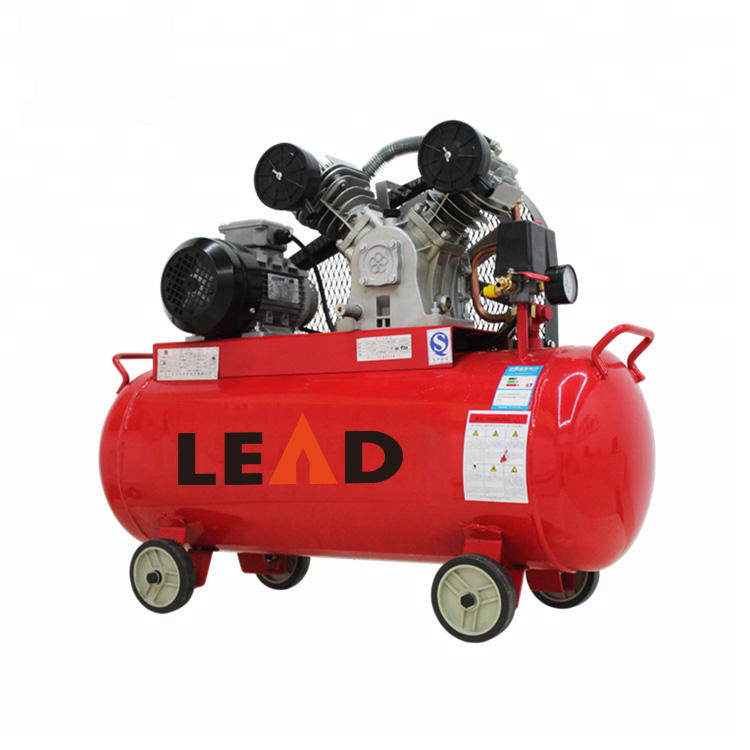 china low weight 2 cylinder 100 liters belt driven quiet small portable electric piston air compressor pump for industry LV3008T