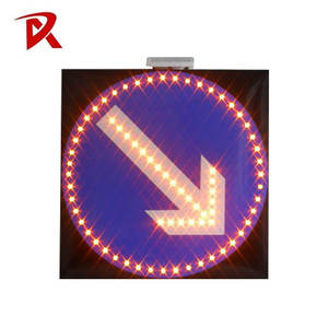 Traffic safety solar LED road arrow warning sign