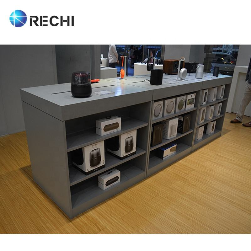 RECHI Design and Custom Made Retail Electronic Display Counter Table with Under-table Accessory Storage Cabinet