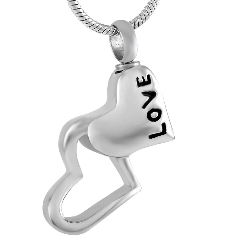 IJD9355 Double Heart Stainless Steel Cremation jewelry from ashes of loved ones - Love Keepsake Memorial Urn Pendant For Human