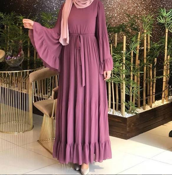 Fashion Elegant Womens Muslim Abaya Dress Islamic Dresses with bell sleeve