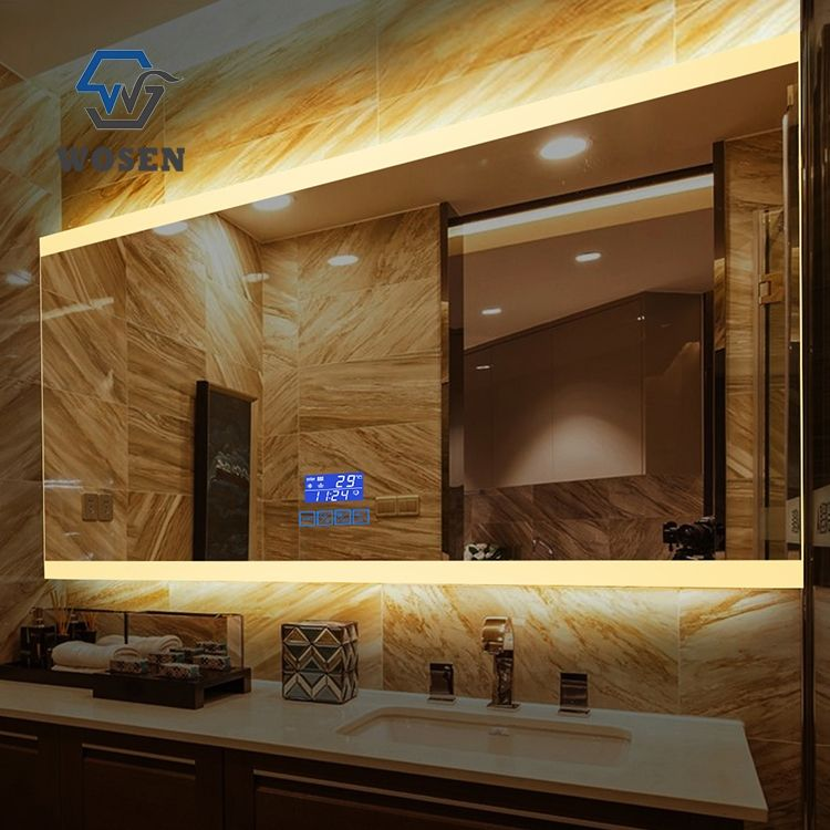 Factory price nice quality led lighting bath room hang mirror