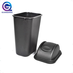 Outdoor waste bin eco friendly black plastic trash can dust bin with lid