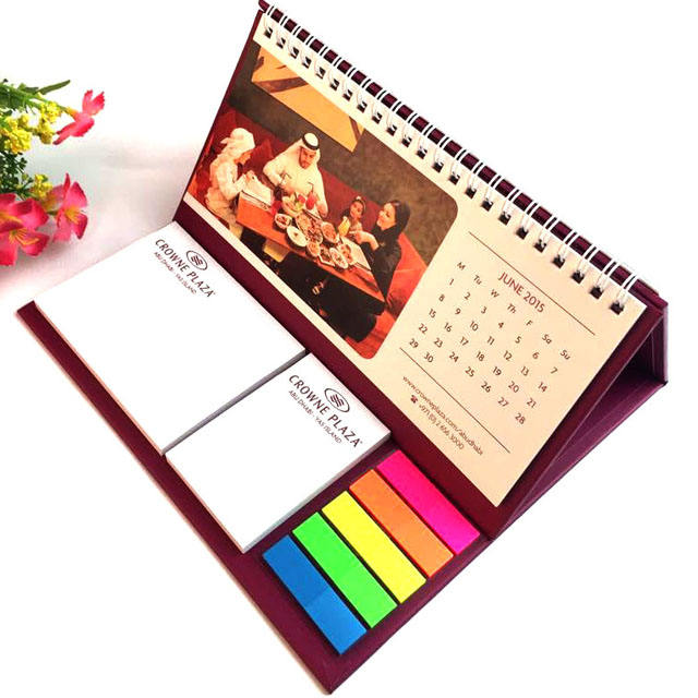 Shenzhen Factory Portable Miniature Table/Desk Calender Printing/ Folding Paper Desk Calendar With Notepad