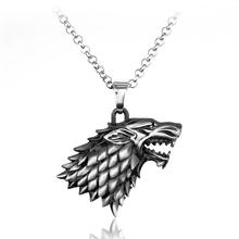 Hot selling Game of Thrones Ice and Fire Song Stark Family wolf head pendant necklace for unisex