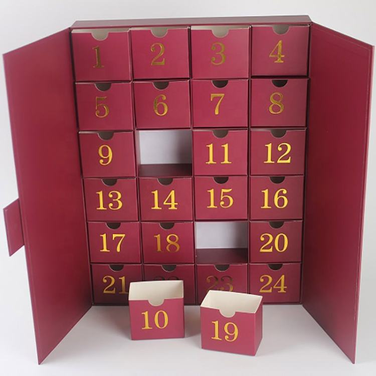 Red Cosmetics Drawer Cardboard Advent Calender Custom Box With Stamping Logo
