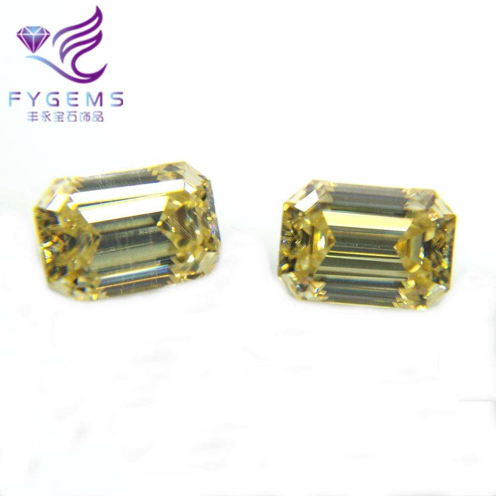 As Diamond Quality High Selling Light Yellow Moissanites Price Emerald Cut Loose Gemstone