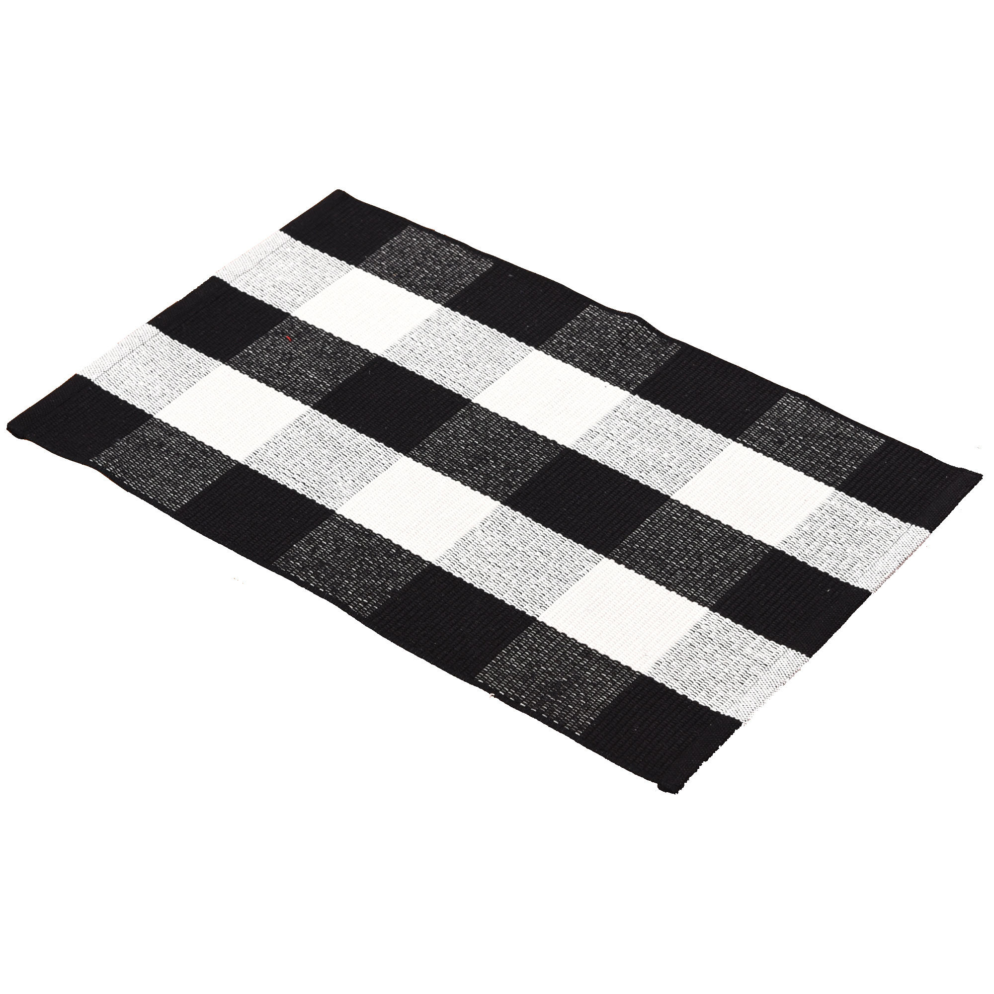 Chinese cotton woven black and white buffalo plaid rug bedroom bathroom floor mat for living room washable buffalo check carpet