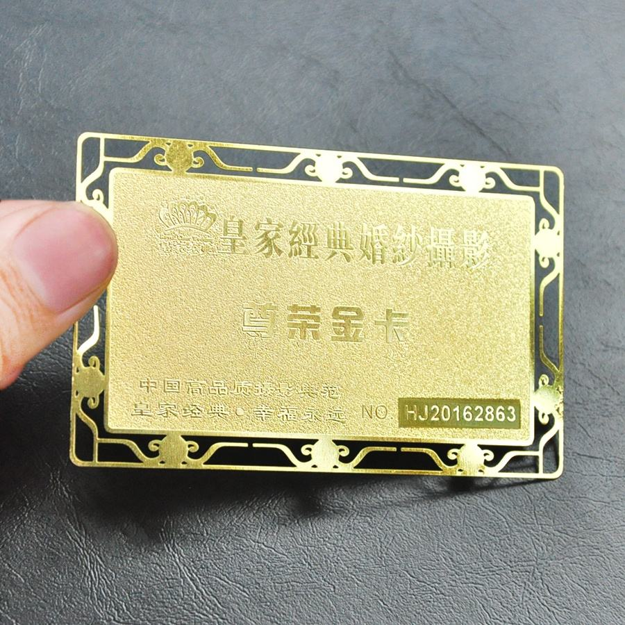 Customization Hollow Out Irregular Shape with Stamping Logo Smart Metal Business Cards