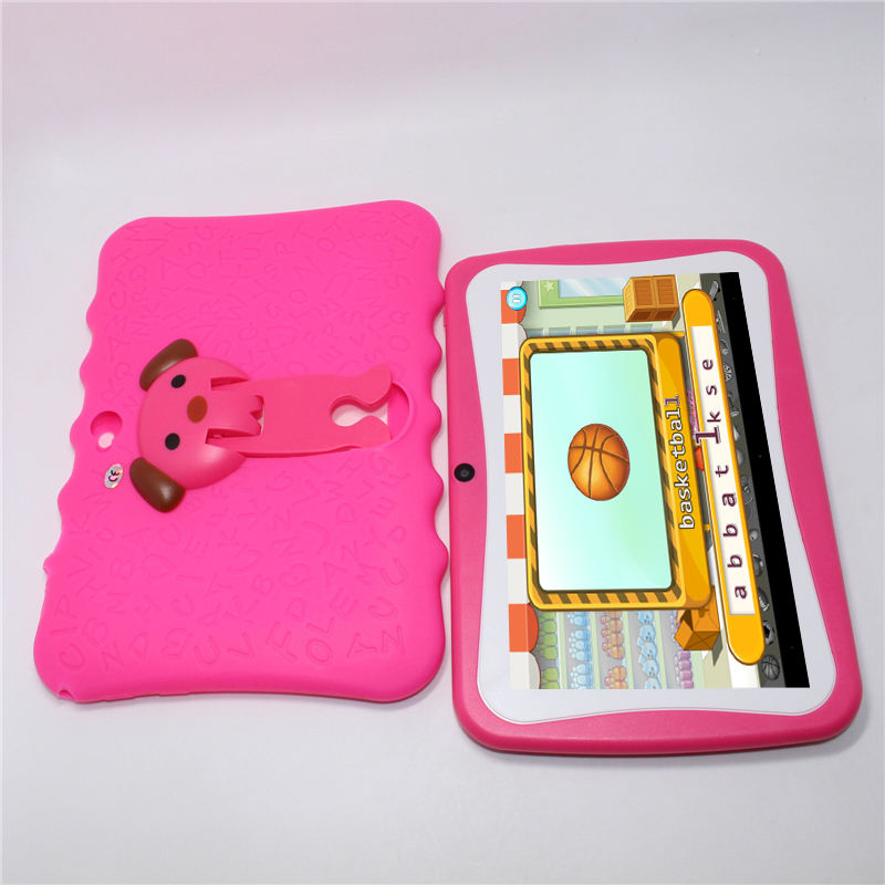 Best quality quad core 7 inch learning children kids tablet pc with leather case