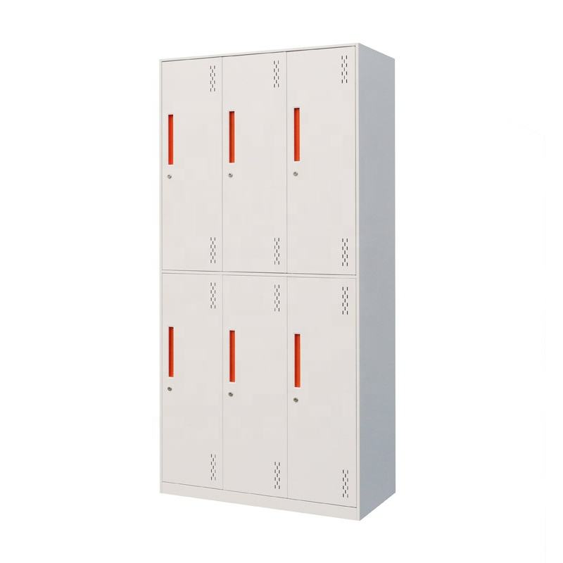 Hot selling Double Tier 6 Door Narrow Edge White Clothes Storage Steel Household Locker and wardrobes
