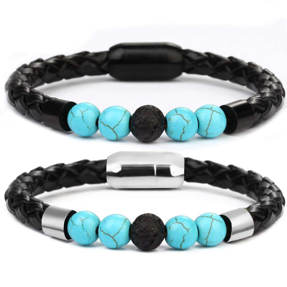 2019 New Arrivals Leather Bead Bracelet Stainless Steel Magnetic Clasp Turquoise Beads Bracelet