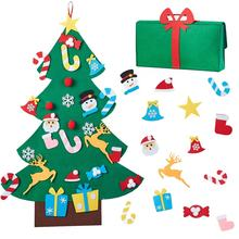 DIY Felt Christmas Tree Set 26pcs Detachable Ornaments With Gift Bag for Kids Xmas Gifts Wall Hanging New Year Door Decorations
