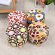 sitting room furniture colorful print pattern floor fabric ottoman