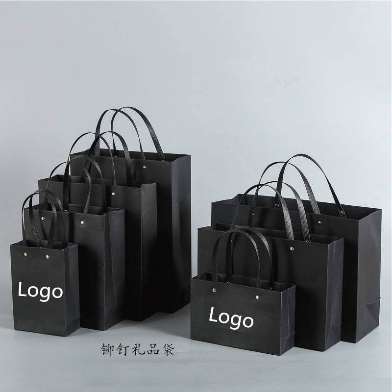 Custom Bouquet Clothing Shopping Retail Black Rivet Paper Bags With Logo Print