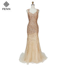 Cap Sleeve Sexy Mermaod Long Ball Gown Beaded Gold Plus Size Evening Dress