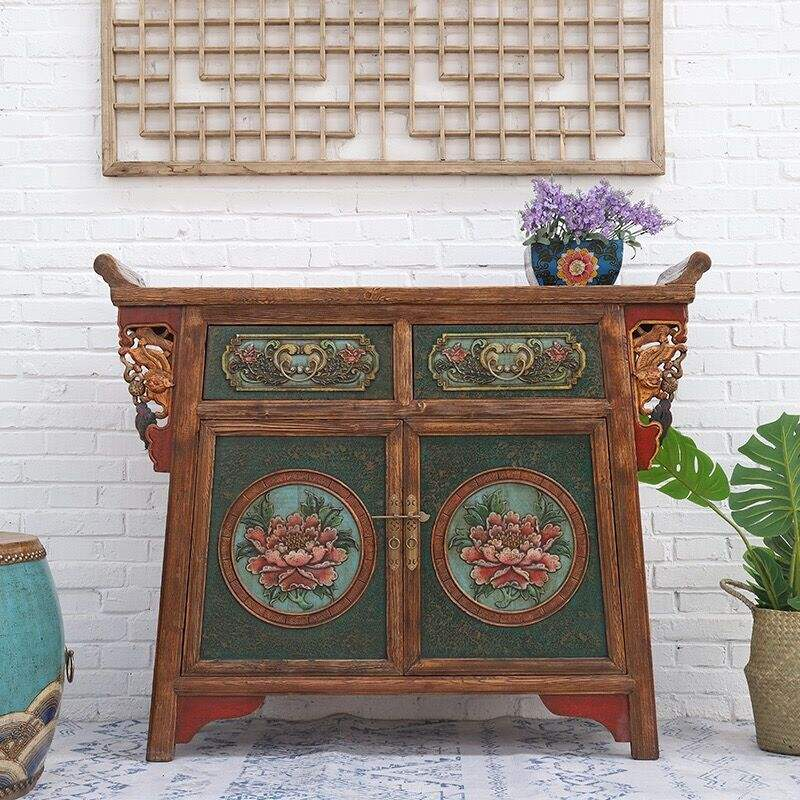 2019 new design Chinese Antique Solid Reproduction Furniture Tibetan lockers, corridor hall cabinet