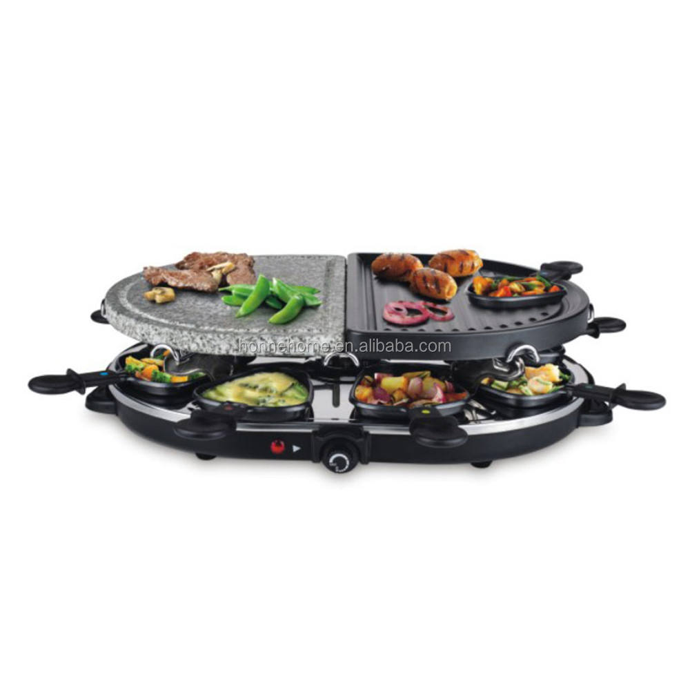 Electric Raclette Grill With A Half Of Size High Density Granite Grill Stone, Serve the whole family
