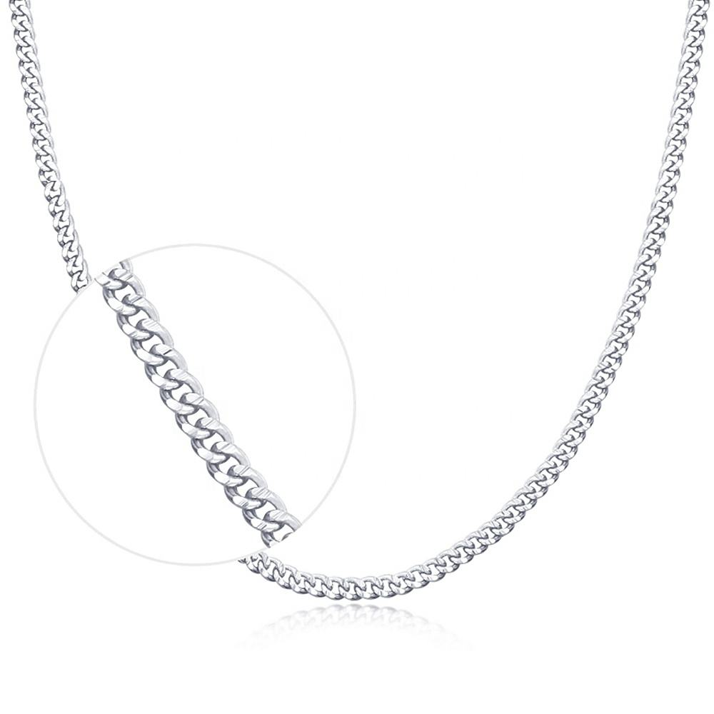 L08 Pure silver 925 plata hot sale fashionable white gold large curb cuban link chain Horsewhip necklace for women miss jewelry