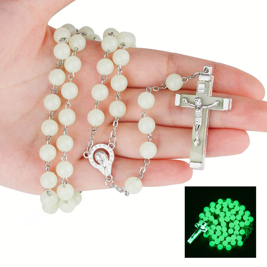 Glow in dark religious beads necklace catholic rosary cross acrylic beads necklace