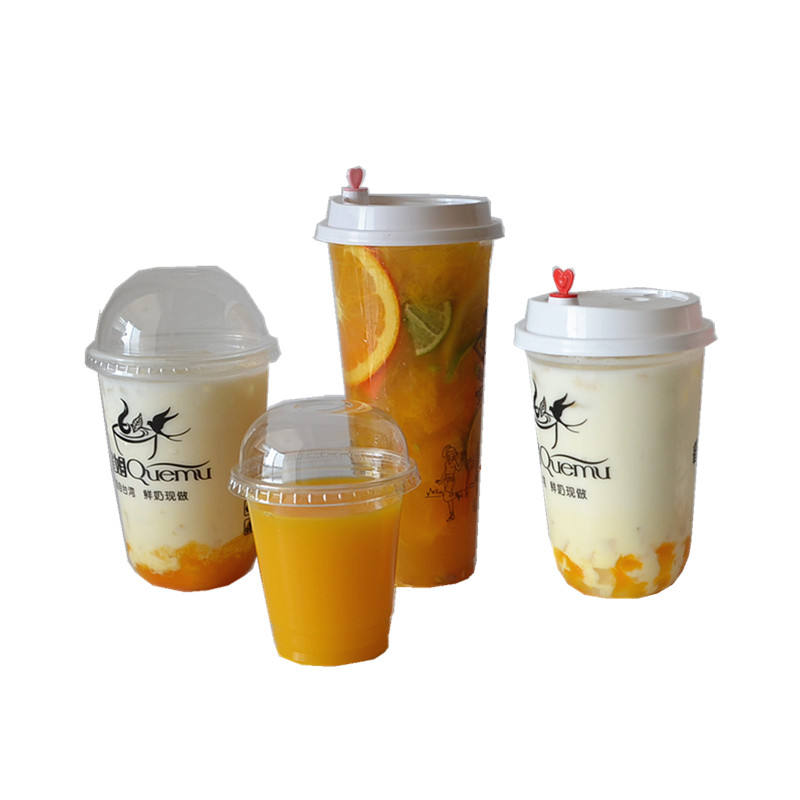 Factory supplies 350ml,500ml,700ml Customized logo U Shape PP PET disposable Plastic Juice Cup with Dome lid Round Plastic Cup