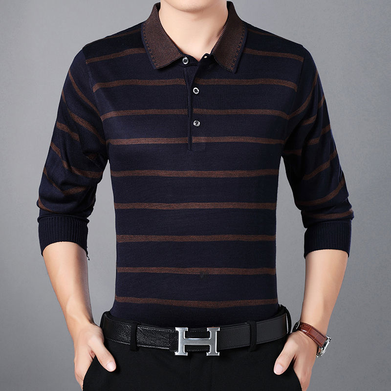 Wholesale casual style man's long sleeve stripe knitted man t-shirt