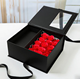 Luxury Black Paperboard Flower Wedding Flavor Gift Box with PET/PVC Windows