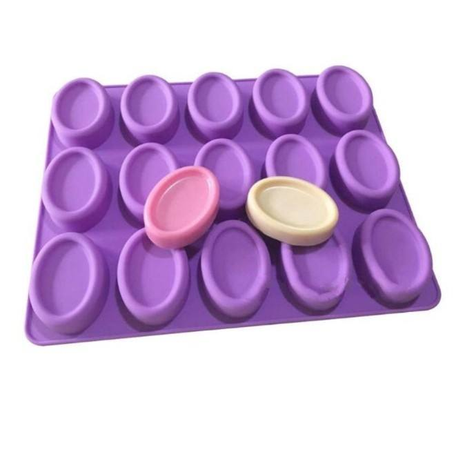 15 Oval Toast Silicone Soap Mold, Handmade Dessert Biscuit candy mold Ice Cube Tray