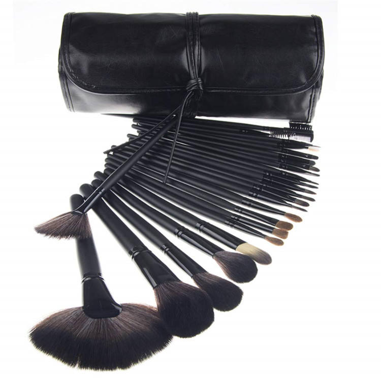Gold Wooden Natural Classical Style Flat Contour Make Up Brushes Portable Plastic Barrel Make-up 11 Pcs White Makeup Brush Kit