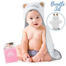 Super Cozy Plush Carefully Designed Soft Organic Bamboo Hooded Towel for Babies and Toddlers with Washcloth