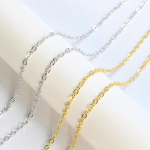Hot sale 925 Sterling Silver 1.5*1.9mm flat O shape Chain Gold Silver Chain sold by meter