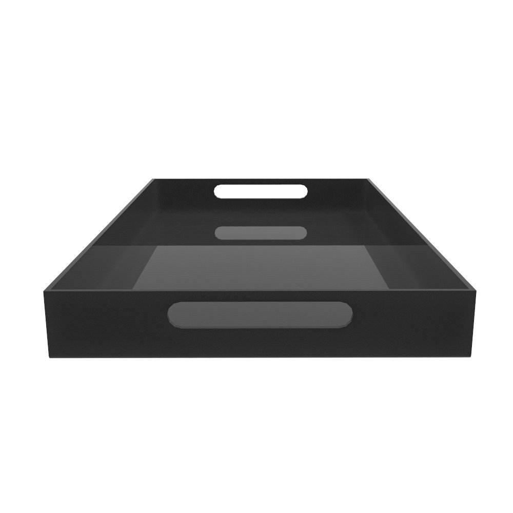 Food Grade Hotel Supplies Acrylic Black Restaurant Serving Tray Plastic Snack Serveing Tray with Handles for Wholesale