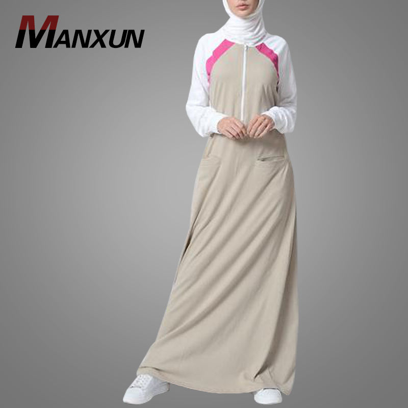 Sports Trendy Cotton Jersey Abaya Dress Sportswear For Muslim Women Activewear Islamic Dress