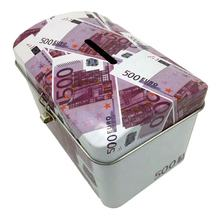 coin bank money box tin can with easy open lid lock