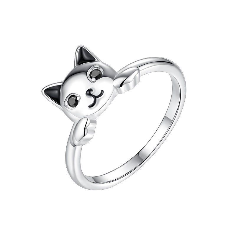 New Arrival 100% 925 Sterling Silver Cat Ring Cute Animal Finger Rings for Women Party Gift