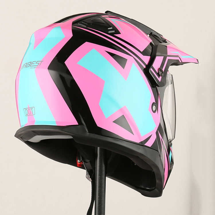 2019 Fashionable pink black motorcycle driving helmets women