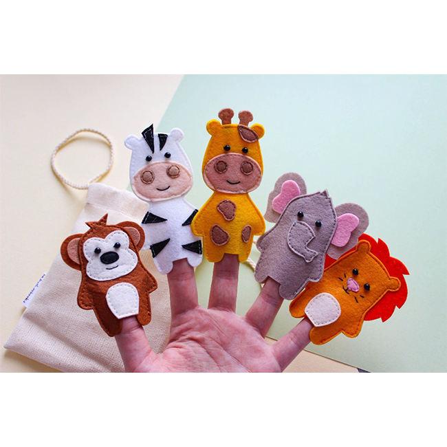 Zoo Animal Finger Puppet 12pc lion tiger elephant zebra giraffe Money Toy Gift
