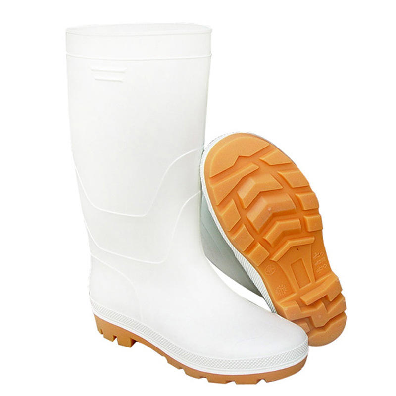 white PVC rubber boots Comfortable kitchen safety shoes white insolent mens work boots