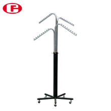 Movable metal round pipe clothes hanging rack garment shop chrome iron shelf