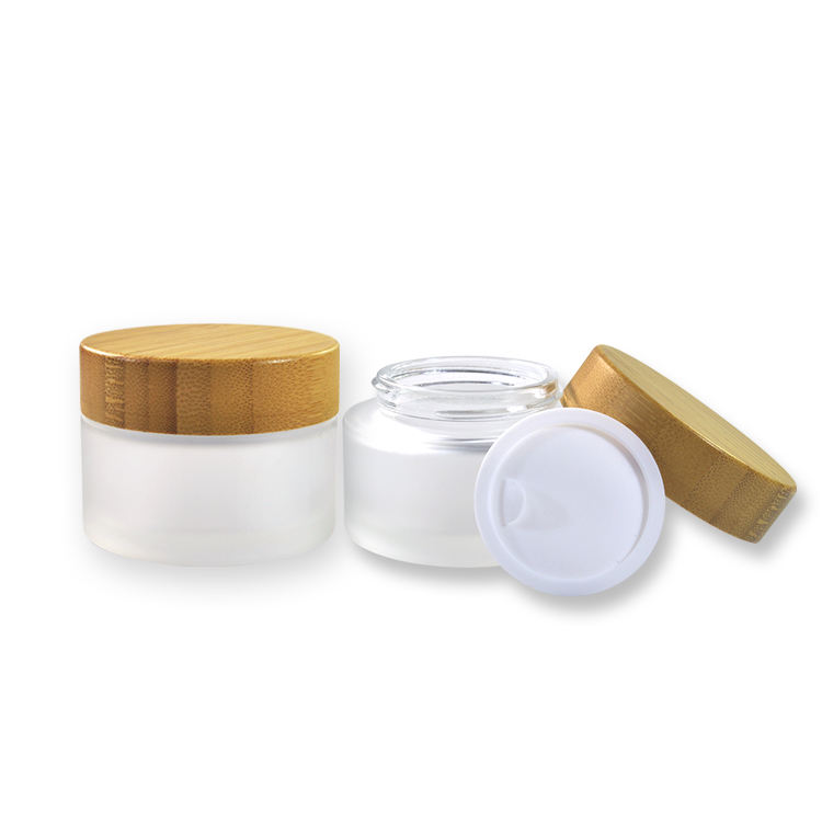 Wholesale 15g 20g 30g 50g cosmetic cream containers clear glass jar with bamboo wood lid