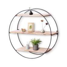 Home decor Wooden&Metal round wall mounted floating shelf