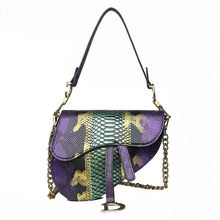 Lady Fashion Handbag Snake Skin Bags Saddle Bag